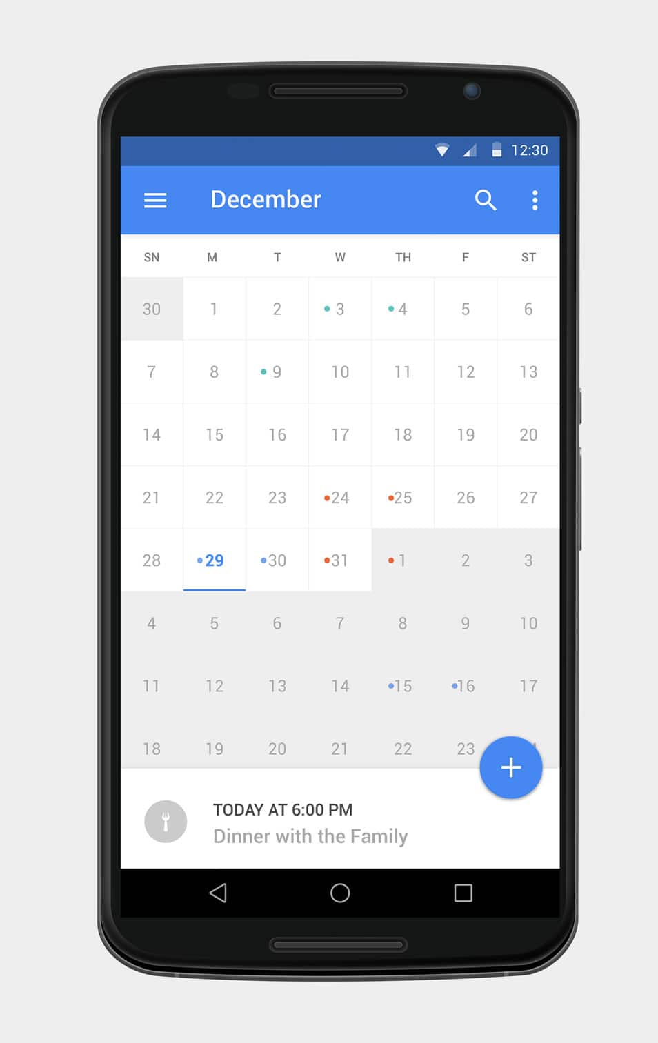 Material Calendar UI PSD