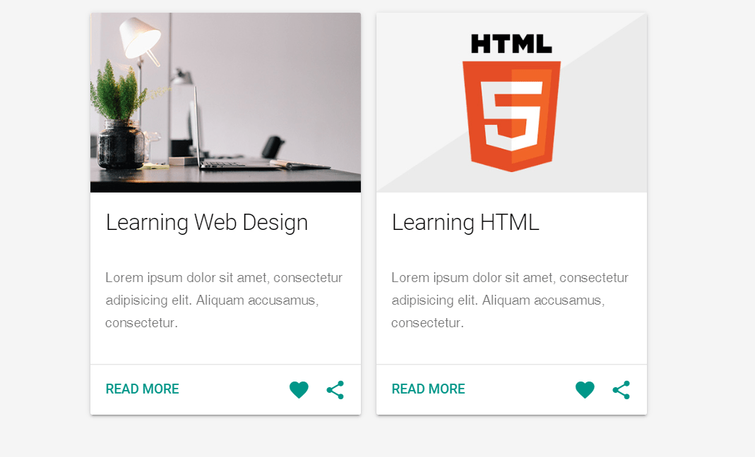 Blog Cards Material Design with HTML And CSS