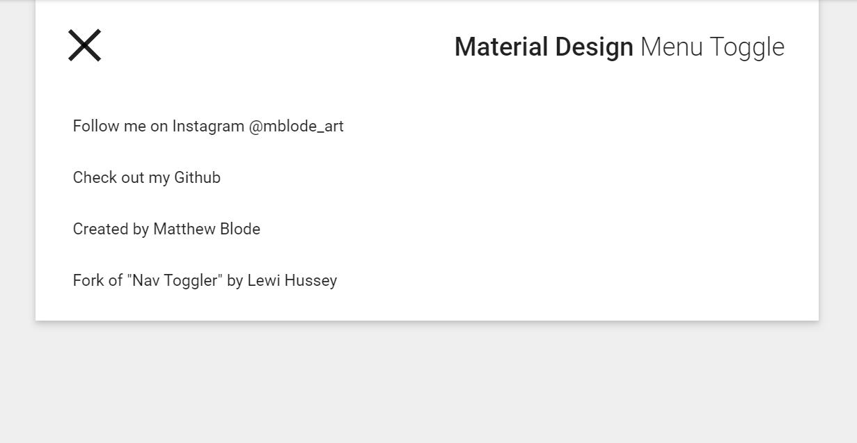 CSS Material Design Toggle Menu Snippet