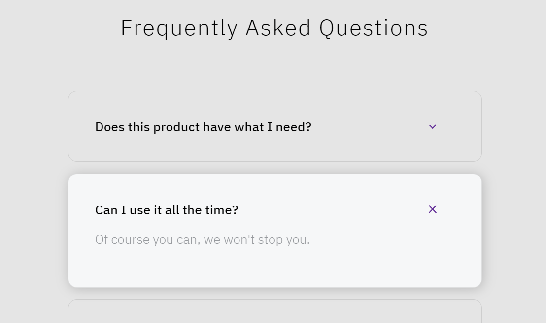 Frequently Asked Questions Accordion CSS Design