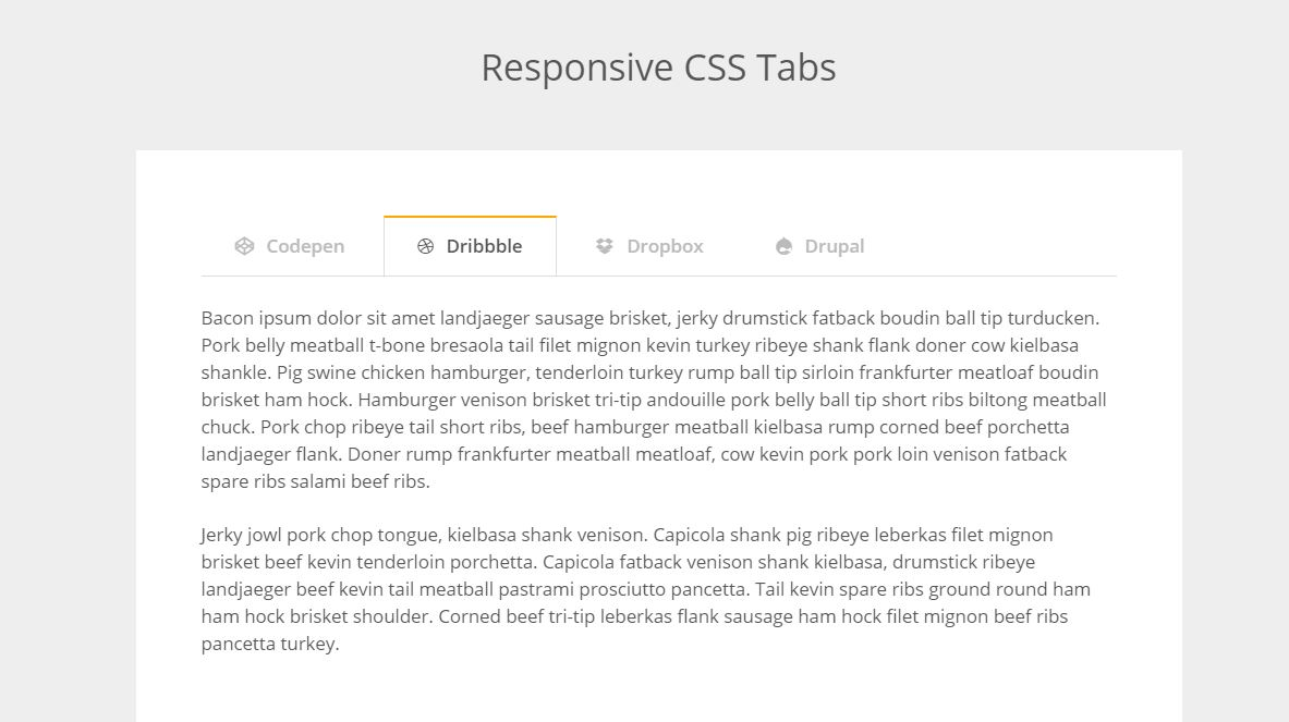 HTML CSS Responsive Tabs Code Example