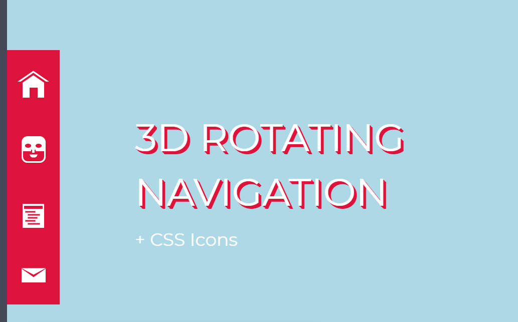 HTML5 And CSS3 3D Rotating Navigation Sidebar Animation