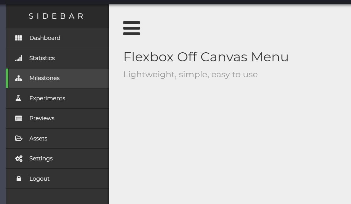 Lightweight Off Canvas Menu with Flex Box