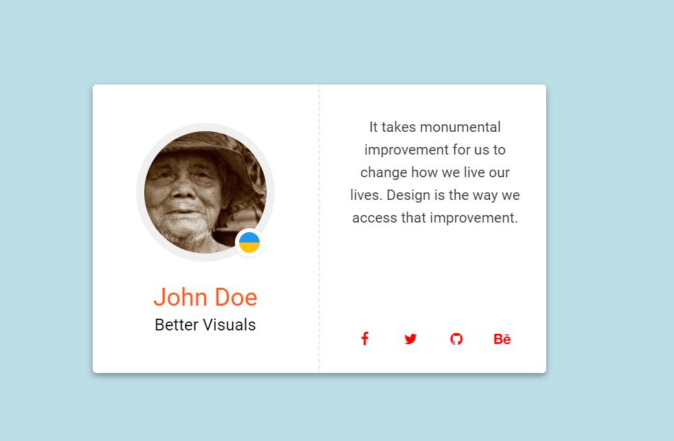 Material Design Clean Profile Card Website Design