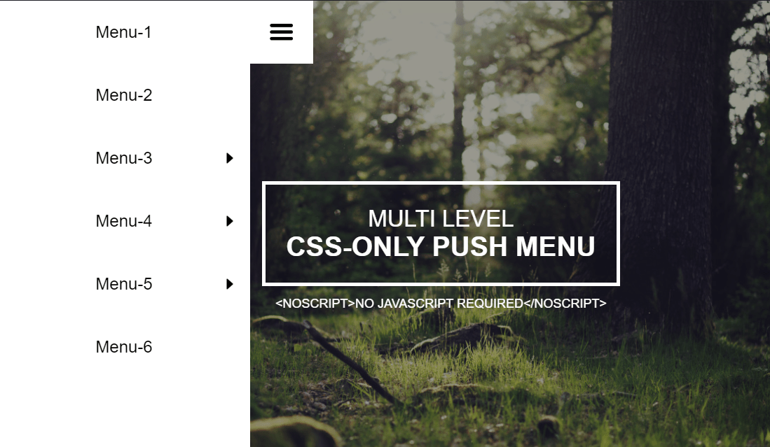 Multi Level CSS Only Navigation Push Menu