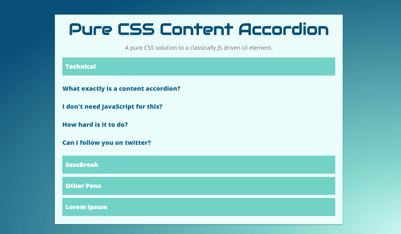 Pure CSS Content Accordion Vertical Example