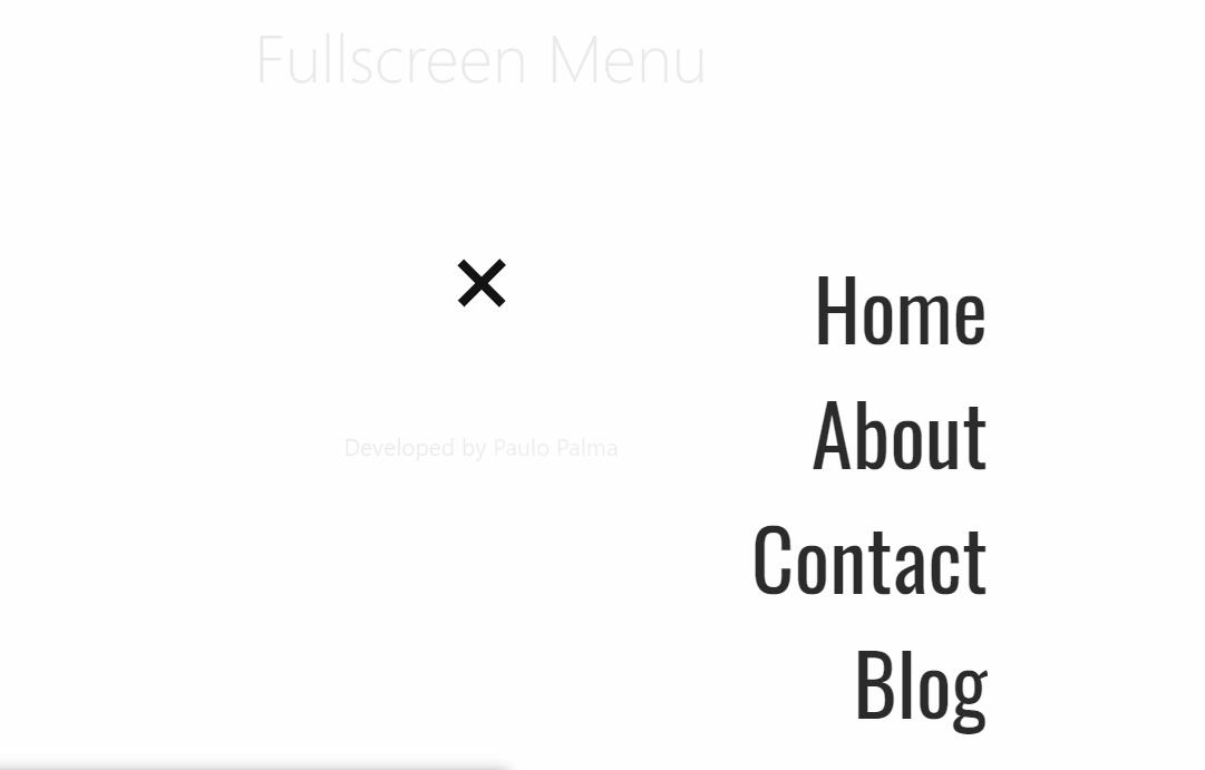Amazing JS Fullscreen Menu Concept