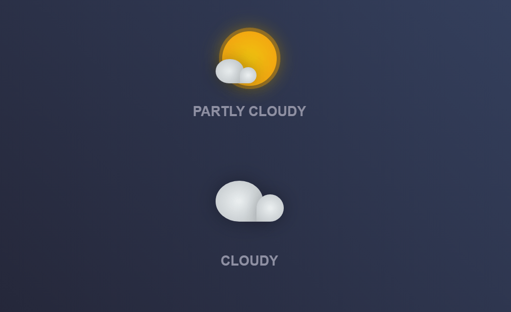 CSS Weather Sunny Cloudy Icon Animations