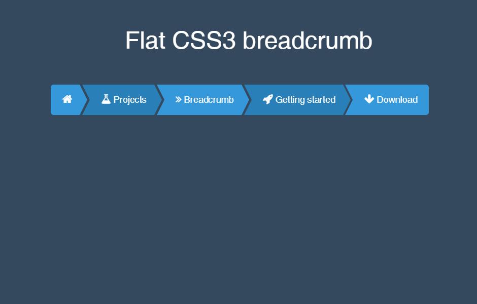 Flat HTML5 CSS3 Breadcrumb For Web Design