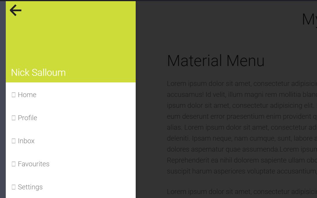 Website Material Design Off Canvas Sidebar Menu