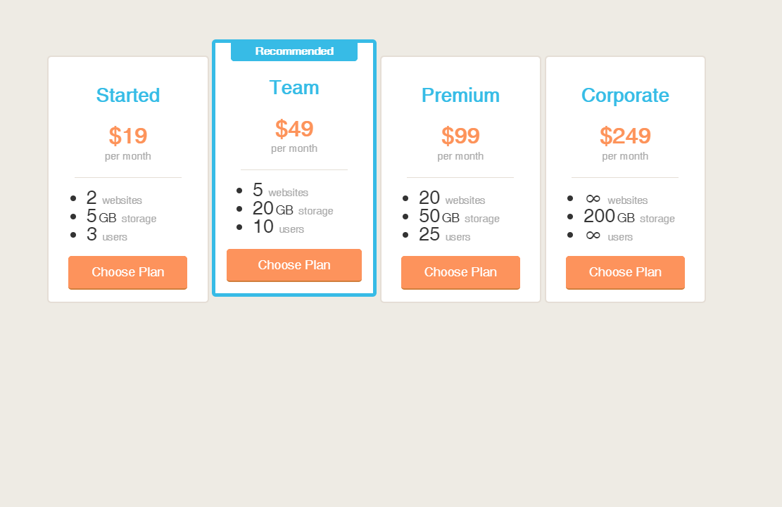 CSS Good Looking Pricing Table Design