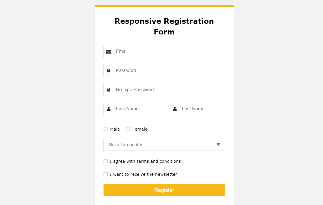CSS Responsive Registration Form Template