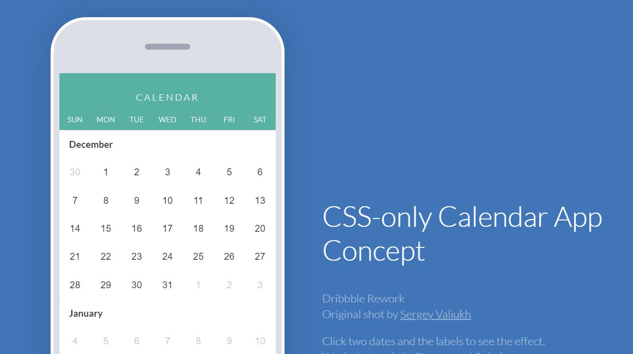 HTML CSS Only Calendar App Concept