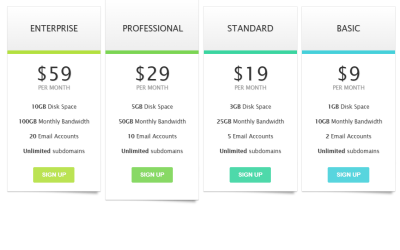 HTML CSS Professional Clean Pricing Table