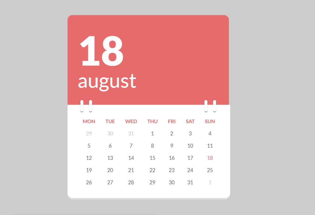 HTML5 CSS3 Beautiful Calendar Table