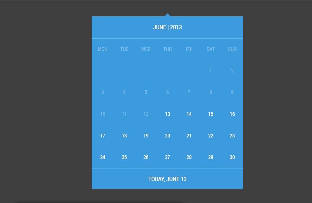 Material Design CSS Calendar UI Example
