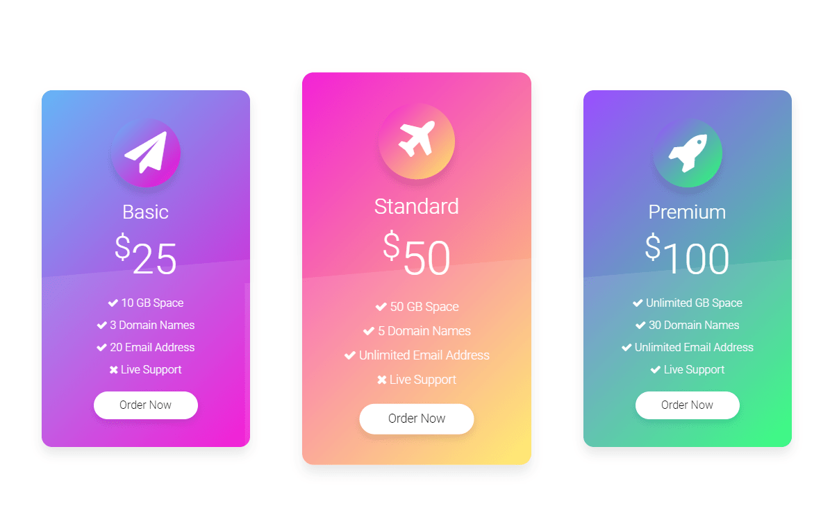 Pricing Table HTML CSS UI Design Hover Effect