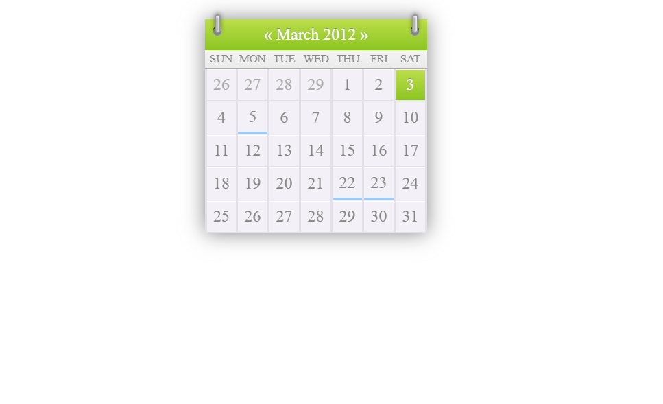 Simple HTML And CSS Calendar Snippet