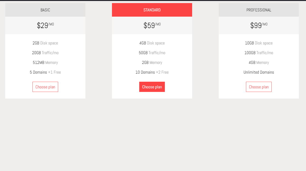 Website Clean Pricing Tables CSS Template