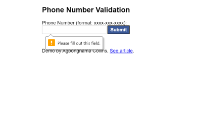 Phone Number Validation Using HTML And CSS