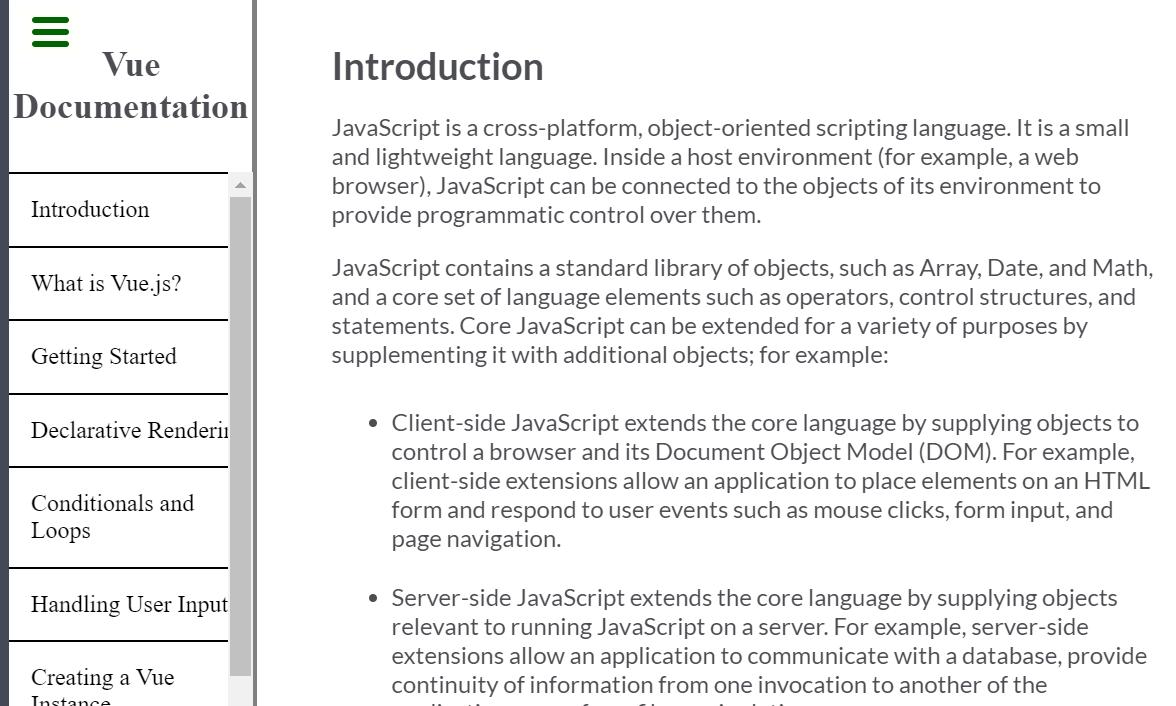 JavaScript Documentation Page Example