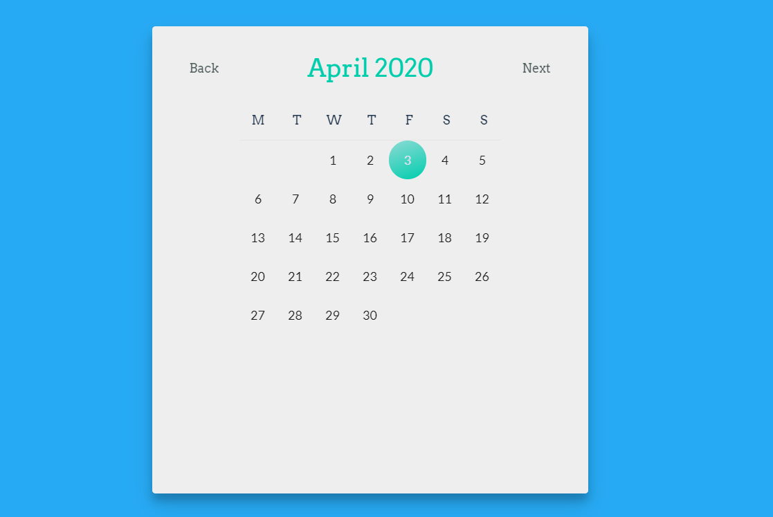 Simple Clean Calendar Made with Vue.js