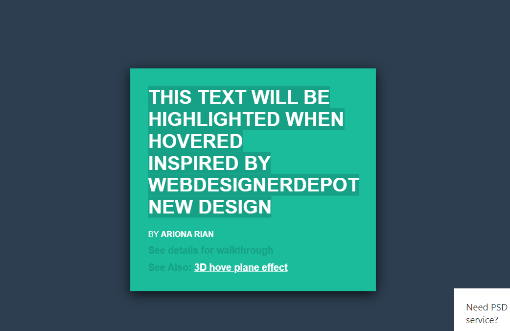 Text Hover Effects Highlighted Using CSS