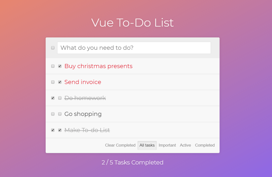 Vue JS Todo Component
