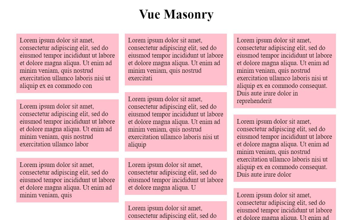 Vue Masonry Simple Component