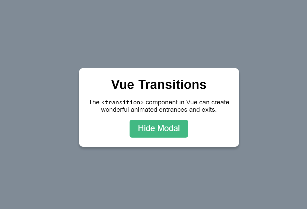 Vue Model with Transition Effect
