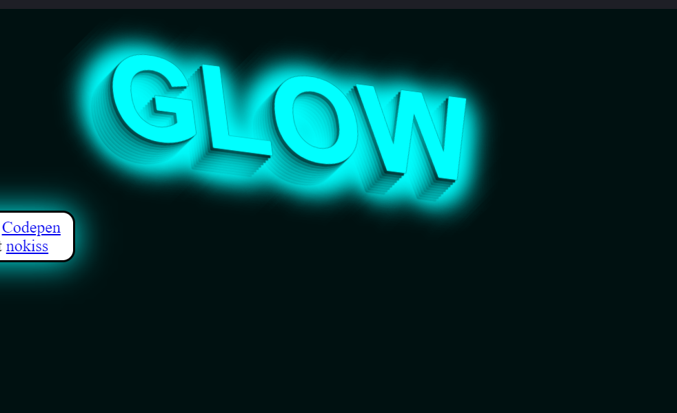Web Glow Effect Example in Pure CSS