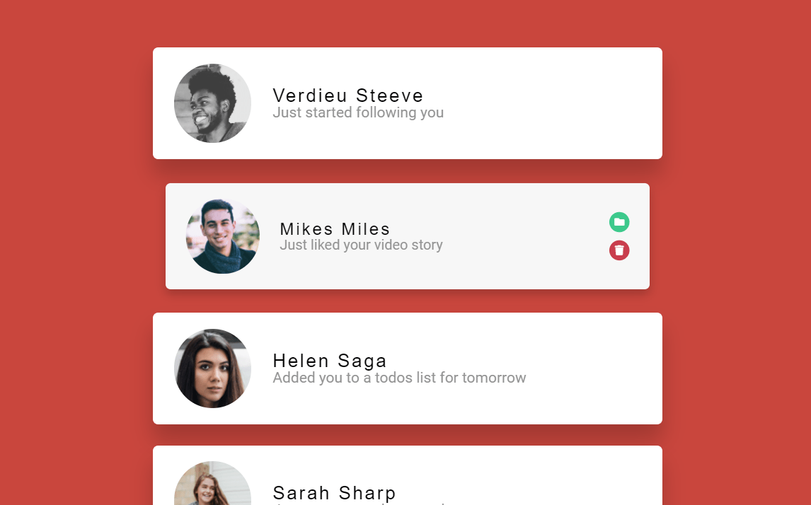 JavaScript Notification Cards Animation