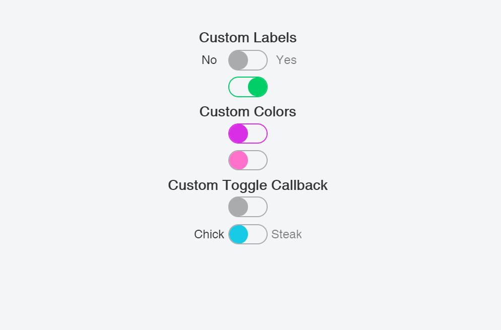 React Custom Labels, Colors, Toggle Callback Switch