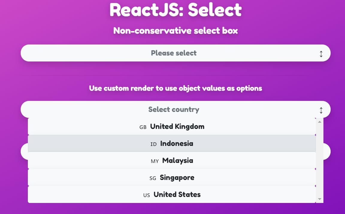 React JS Select Example