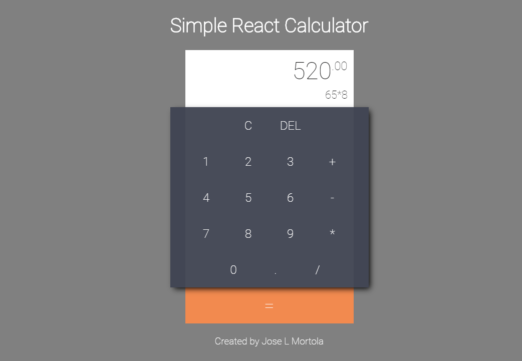 Simple Calculator React Example