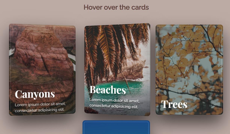 Parallax Depth Cards Thumbnail Hover Animation