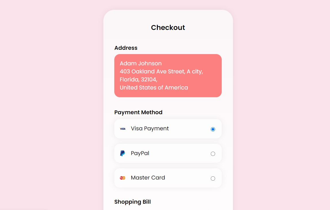 Online Payment Checkout Form using CSS