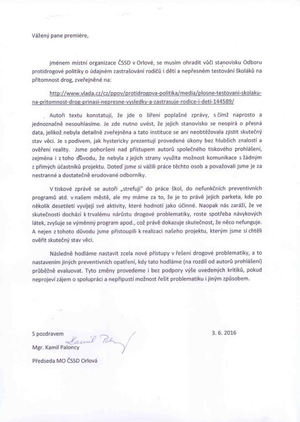 Dopis premierovi Sobotkovi