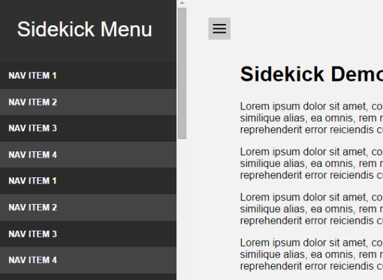 Pure CSS Sidebar Toggle Menu – Sidekick