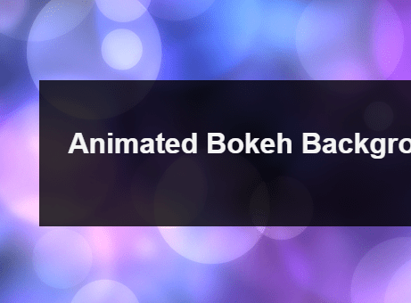 Animated Bokeh Background With JavaScript And Canvas | CSS