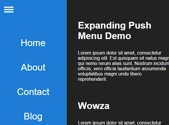 Expanding Push Menu With Pure CSS