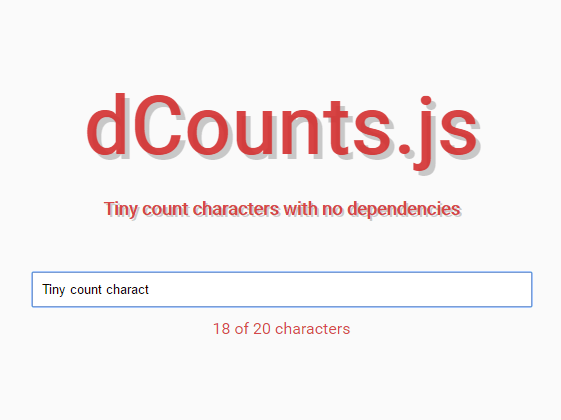 Minimal Character Counter For Text Field – dCounts.js
