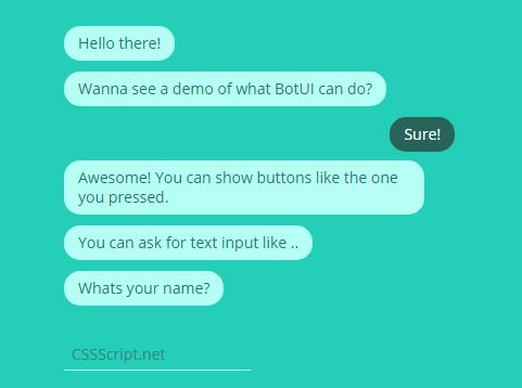Minimal JavaScript Chat Bot Framework - BotUI | CSS Script