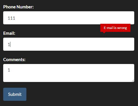 Minimal Form Validation Popup In Pure JavaScript - popup