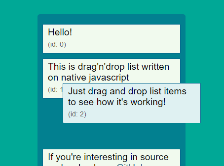 Draggable List View With Vanilla JavaScript