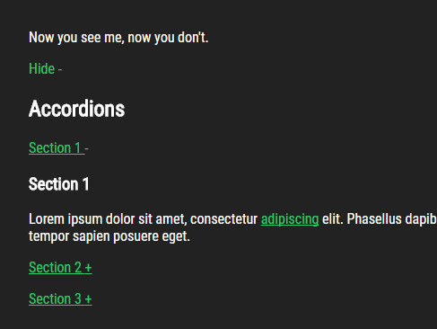 Basic Accordion & Content Toggle JS Library – Houdini