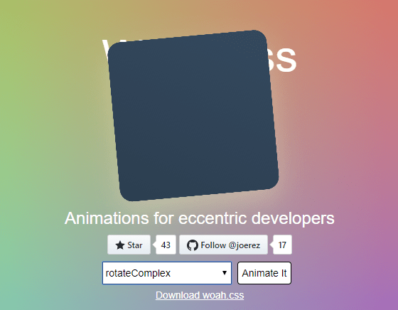 Weird CSS3 Animation Library – Woah.css