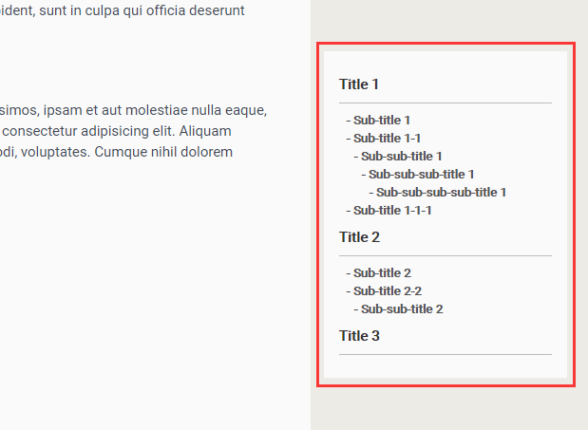 Easy Table of Contents Generator In Pure JavaScript