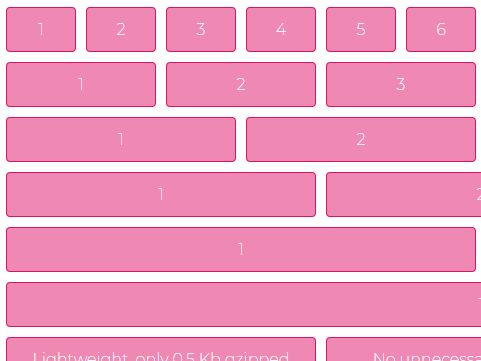 0 5kb Responsive CSS Grid Framework - SMART CSS GRID | CSS Script