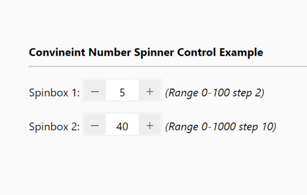 Convineint Number Spinner Control In Pure JS – Increment Stepper
